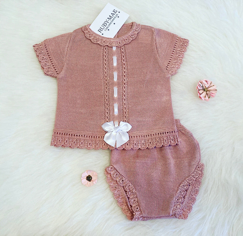 Dusky Pink Bow Front Dress With Matching Knickers Outfit - Sophia