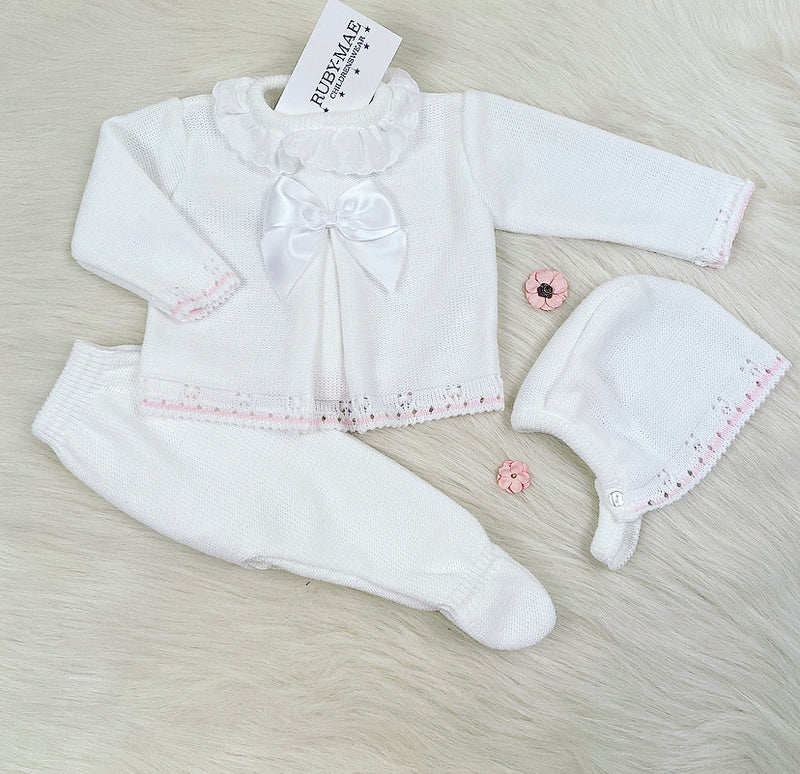 White With Pink Bow Front Knitted Long Legged 3 Piece Set - Elsie