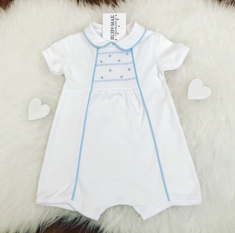 White With Blue Romper Suit - Ben