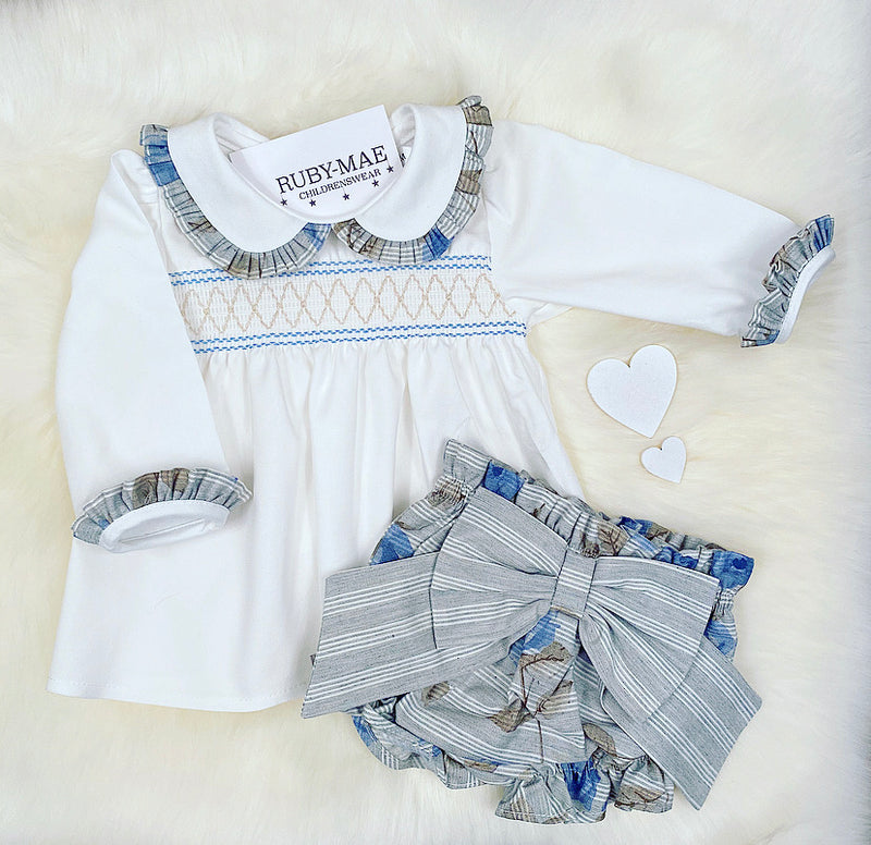 PREMIUM Grey With Blue Stripe Blouse With Matching Jam Pants Outfit - Amelia