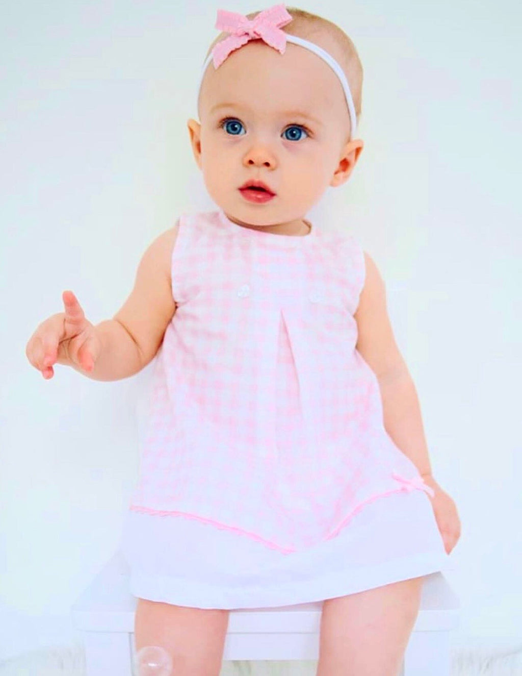 Pink Gingham Dress With Matching Knickers - Lauren