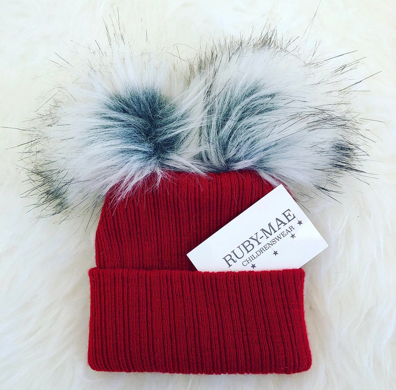 Wine Ribbed Knitted Double Faux Fur Pom Pom Hat