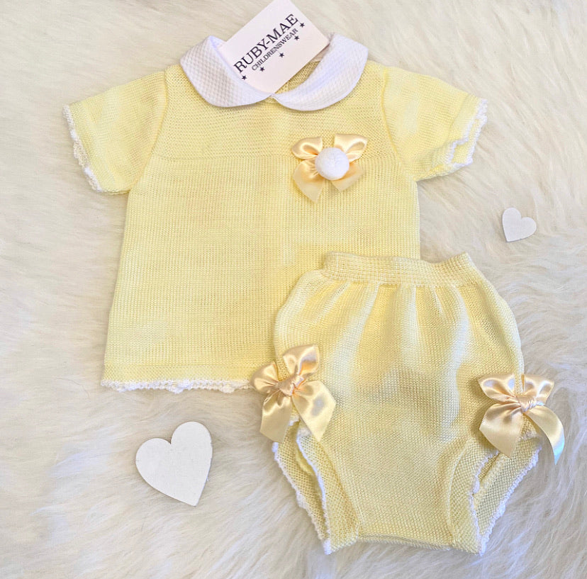 Lemon Bow Pom Pom Front Dress With Matching Knickers Outfit - Kylie