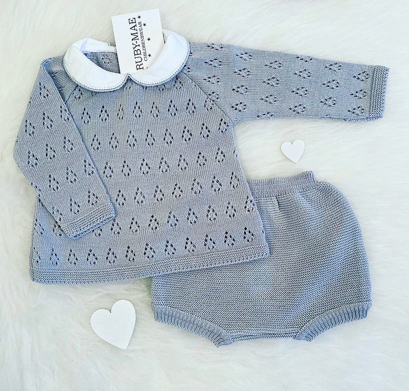 Grey Pointelle Knitted Two Piece Outfit - Jace