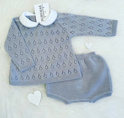 Blue Twist Knit Two Piece Set - Samuel