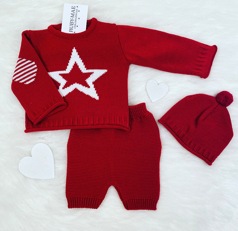 Red And White Star Knitted Jumper And Short With Matching Hat Outfit - Jamie
