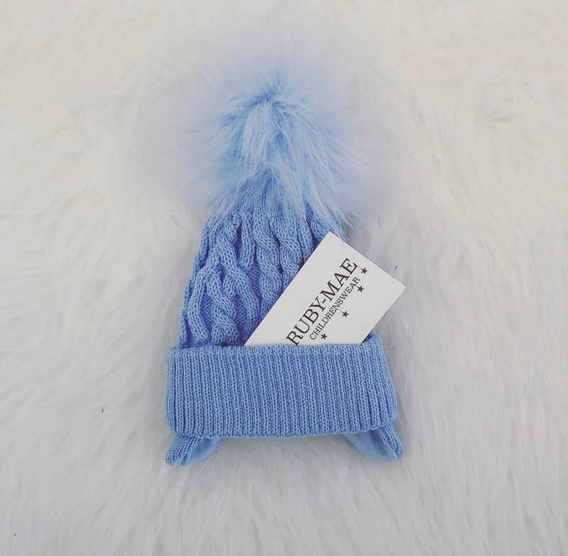 Blue Cable Knit Faux Fur Pom Pom Hat With Ear Covers