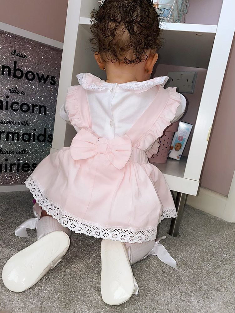 PREMIUM Pink Lace Bow Front Blouse With Matching Dungaree Tutu Skirt With Attached Bloomers Outfit - Emily