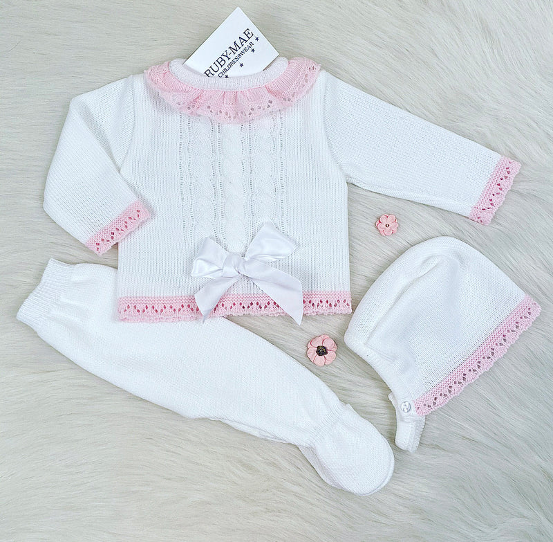 White With Pink Bow Cable Knit Front Knitted Long Legged 3 Piece Set - Kimberly