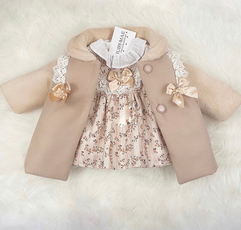 Beige Suede With Faux Fur Coat & Matching Floral Print Pleated Dress Outfit - Minnie