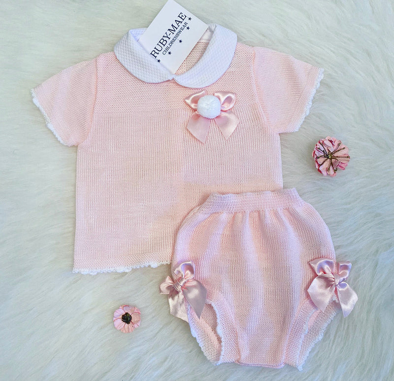 Pink Bow Pom Pom Front Dress With Matching Knickers Outfit - Kylie