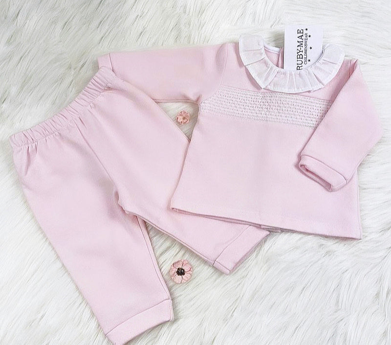 Soft Pink Velour Smock Tracksuit - Madison