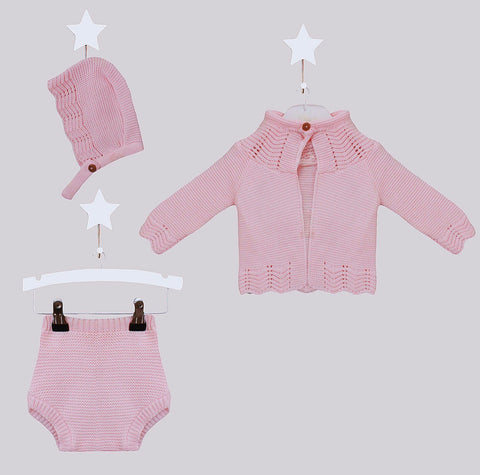 Pink Knitted Bow Cardigan - Annabel