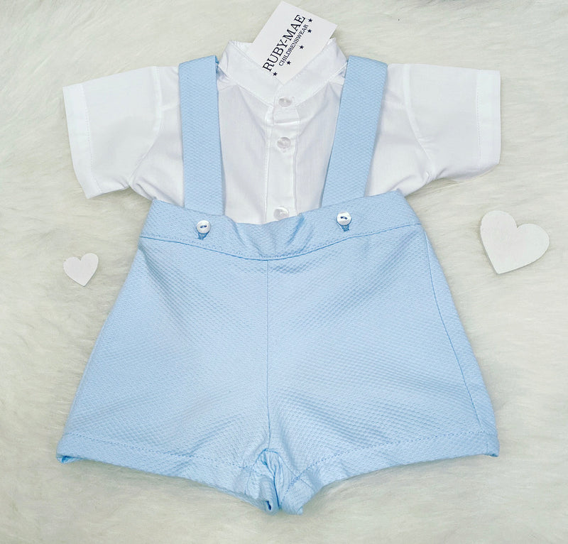Blue And White Waffle H Bar Dungaree Outfit Set - Brad