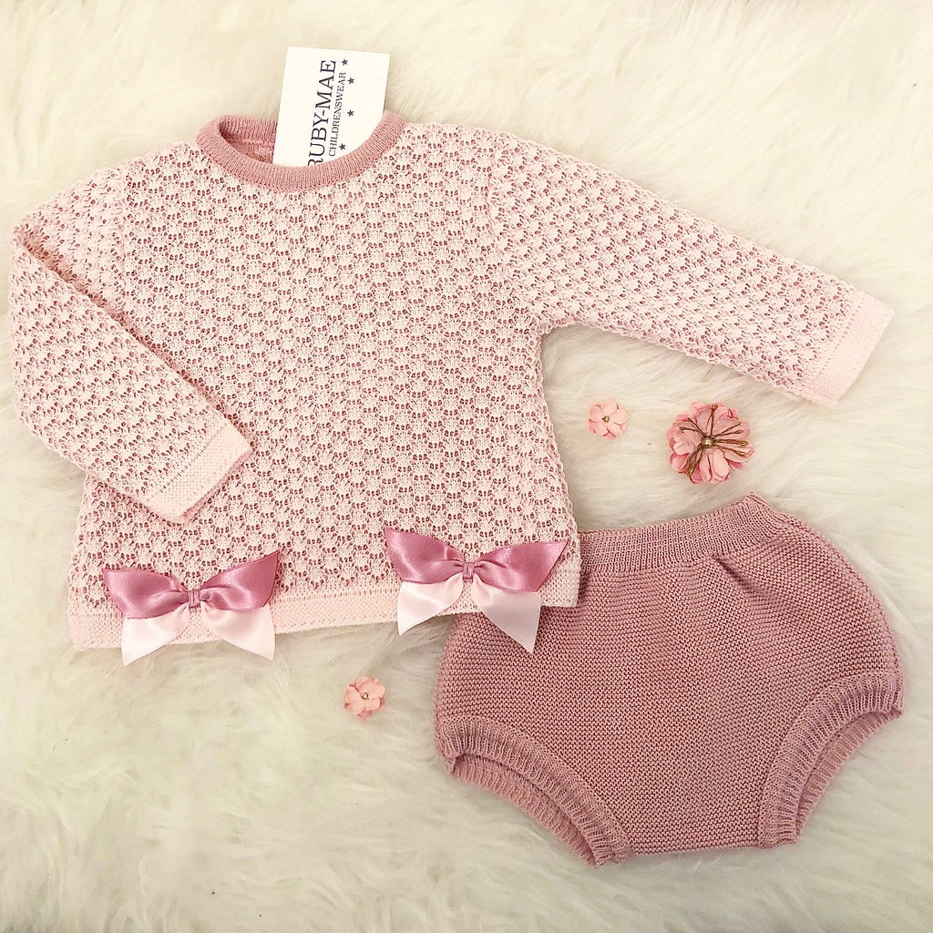 Dusky Pink Knitted Bow Front Dress With Matching Knickers - Emma