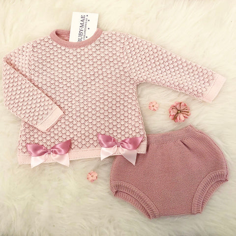 Baby Pink Knitted Jacket & Briefs With Matching Bonnet - Amelia