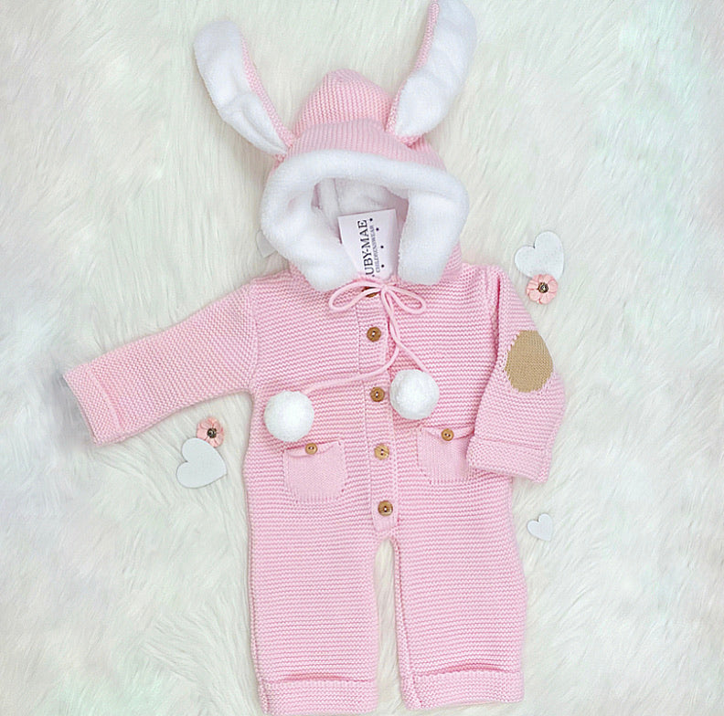 Pink Knitted All In One Outfit With Hooded Rabbit Ears - Kelly