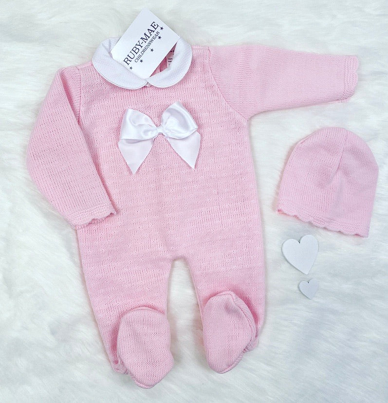 Pink Bow Front Knitted Bow Detail All In One With Matching Hat - Rubie