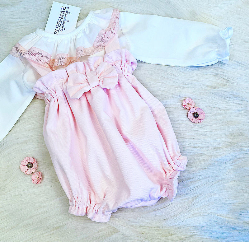 PREMIUM White And Pink Frill Neck Blouse With Matching Dungaree Romper Set - Elizabeth