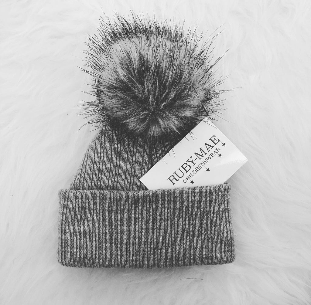 Grey Faux Fur Single Pom Pom Hat