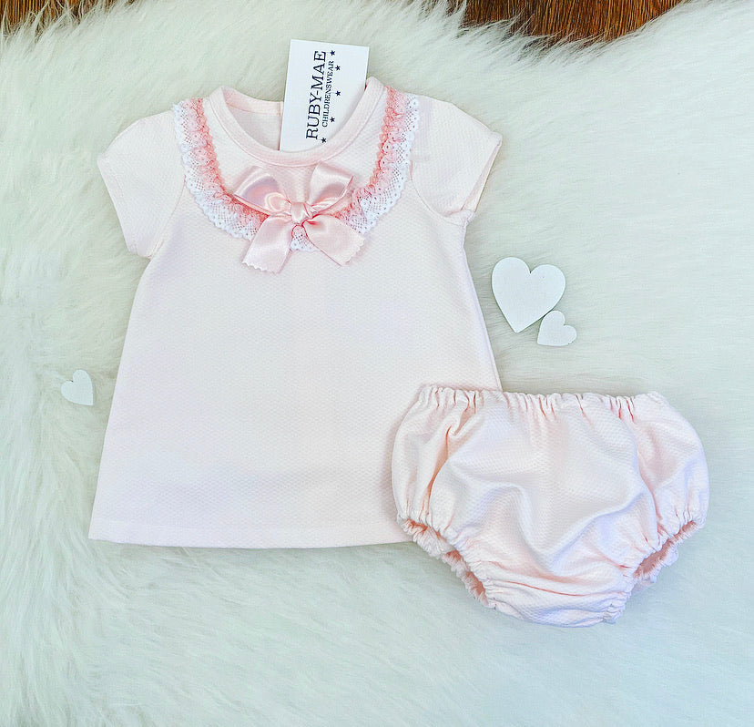 PREMIUM Pink Frill Neck Waffle Dress With Matching Knickers - Olivia