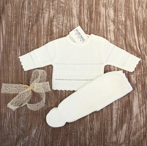 UNISEX White Long Leg Knitted Two Piece