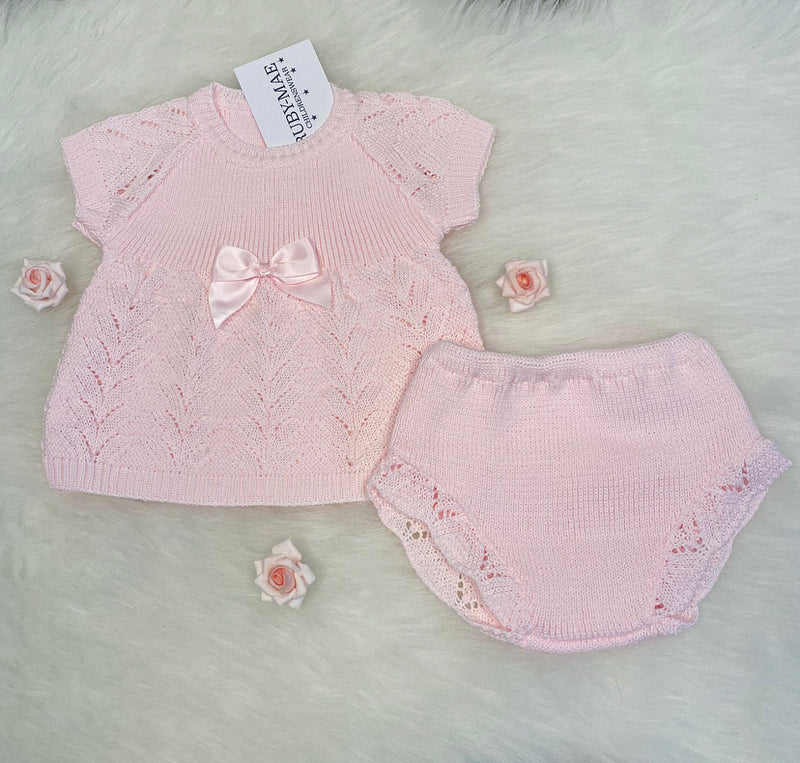 Pink Knitted Dress With Matching Knickers - Isabella