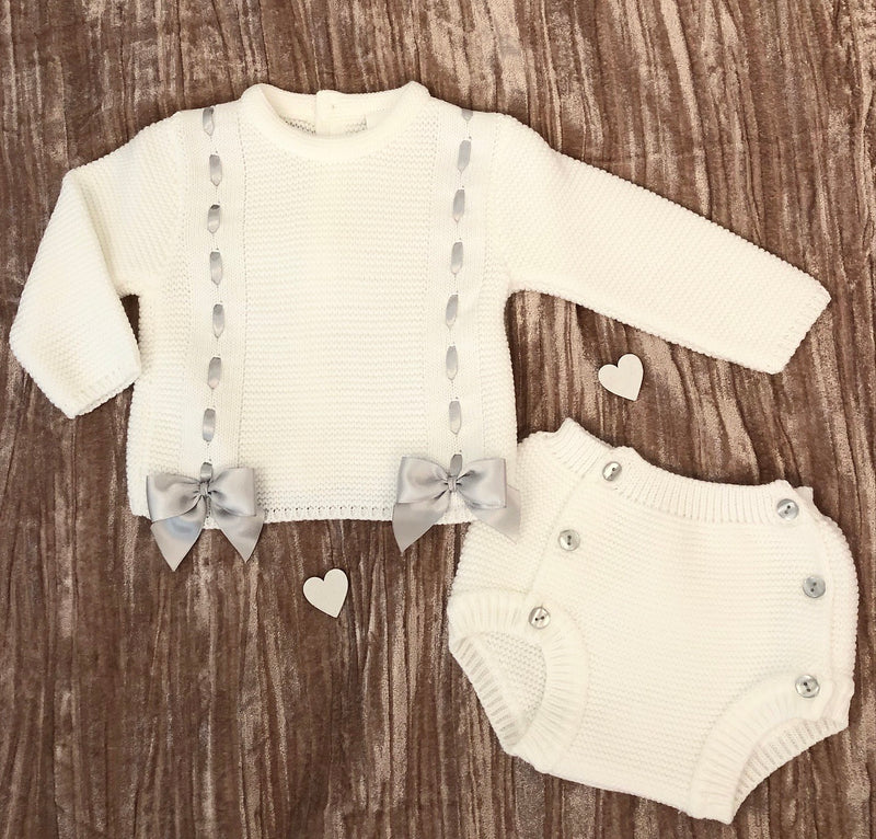 White Knitted Pom Pom Jumper And Jam Pants Outfit Set - Louie