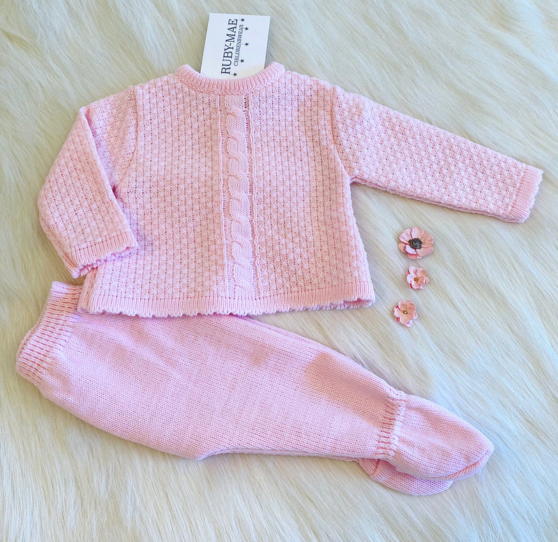 Pink Cable Knit Long Leg Knitted Two Piece - Tia
