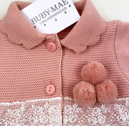 Dusky Pink Knitted Lace Detail Coat With Matching Bonnet - Brittney