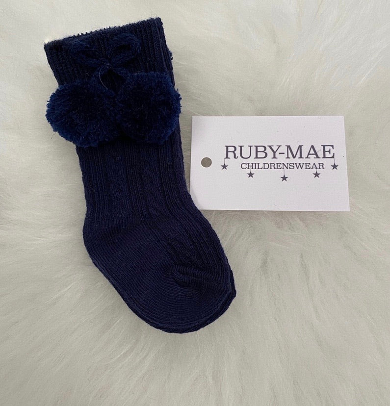 Navy Pom Pom Knee Length Socks