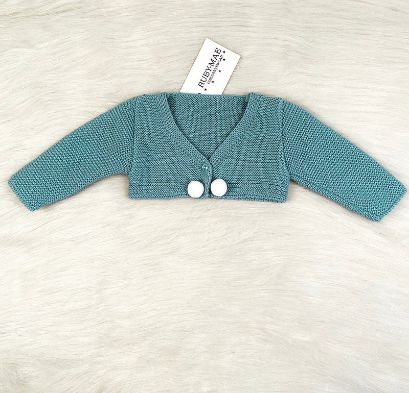 Teal Knitted Dress With Matching Cardigan - Anabella