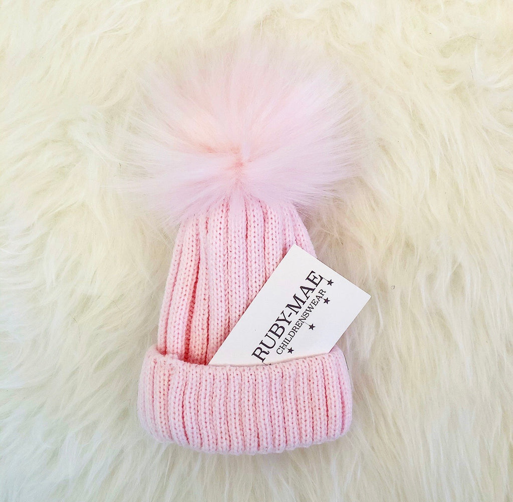 Pink Knit Faux Fur Pom Pom Hat