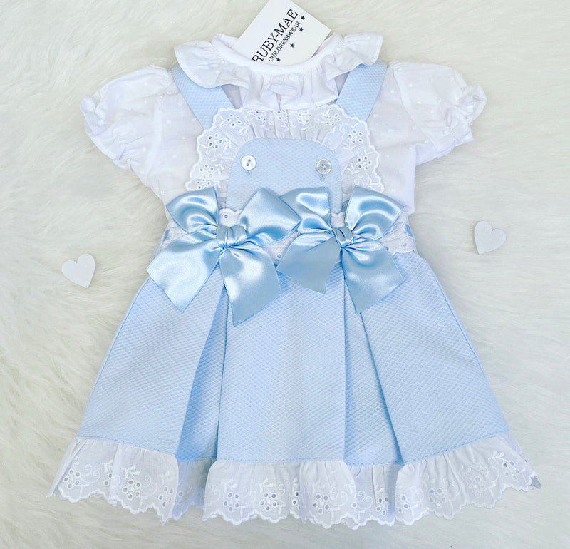 Blue And White Lace Ruffle Detail Dress Outfit - Gemma