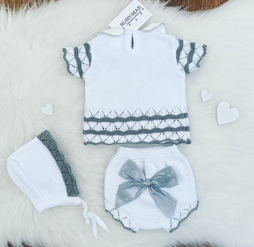 White With Grey Knit Bow Detailing Outfit With Matching Hat - Harper