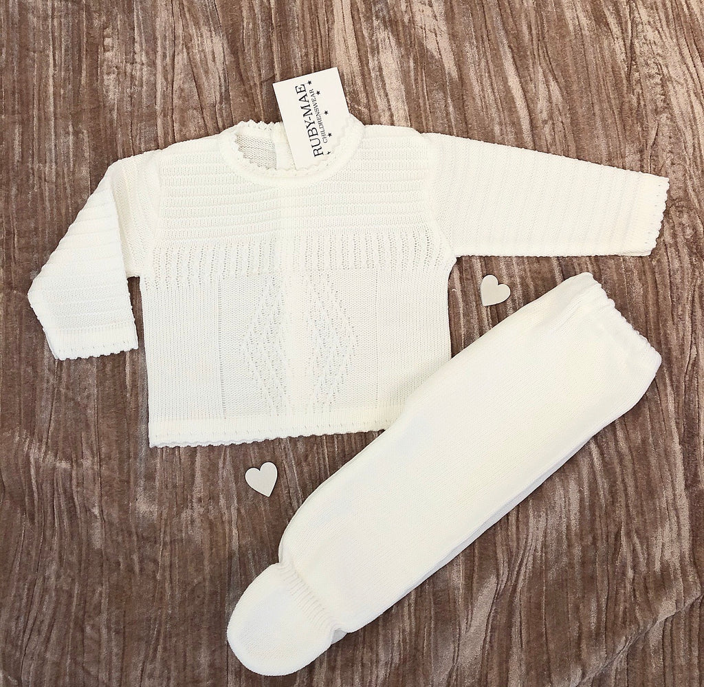 UNISEX White Diamond Long Leg Knitted Two Piece