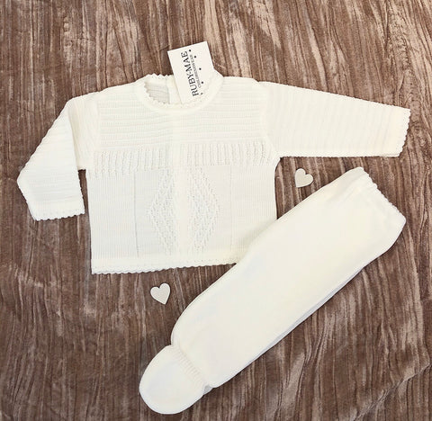 UNISEX Soft White Velour Bow Detail All In One