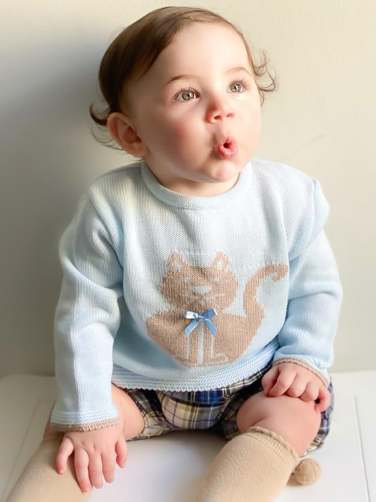 Blue Tartan Knitted Jumper & Shorts Outfit - Easton