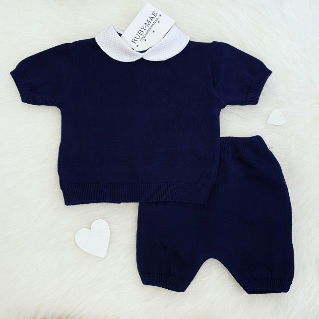 Navy Knit Top And Shorts Outfit - Kendi
