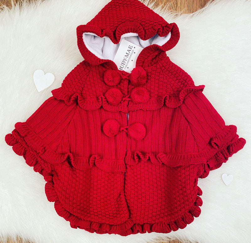 Red Cable Knit Frill Hem Hooded Poncho - Siema