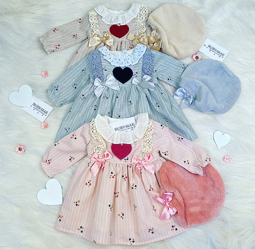 Pink Heart Bow Front Dress With Matching Beret Hat - Zaria