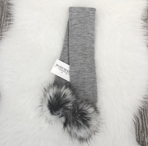 Grey Bow Front Pom Pom Hat