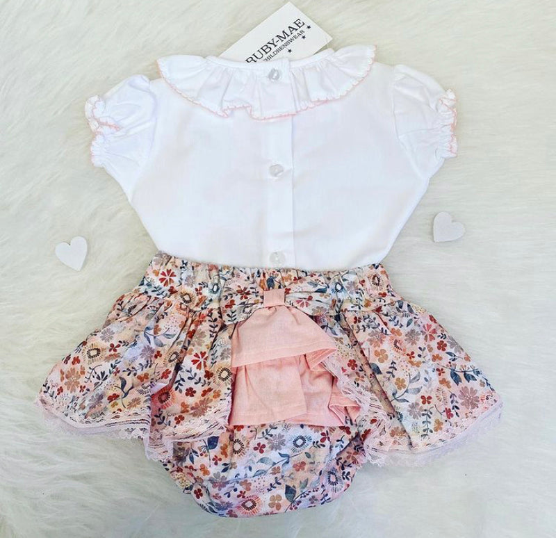 White & Floral Printed Bow Front Blouse & Skirt Outfit - Sally