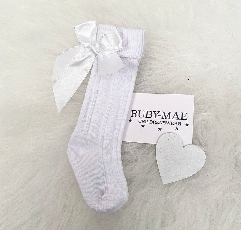 White Bow Socks