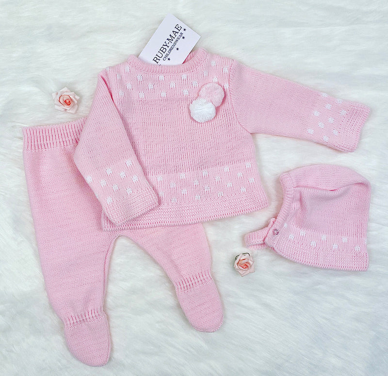 Pink Knitted Pom Pom Jumper And Pants With Matching Hat Outfit - Katy