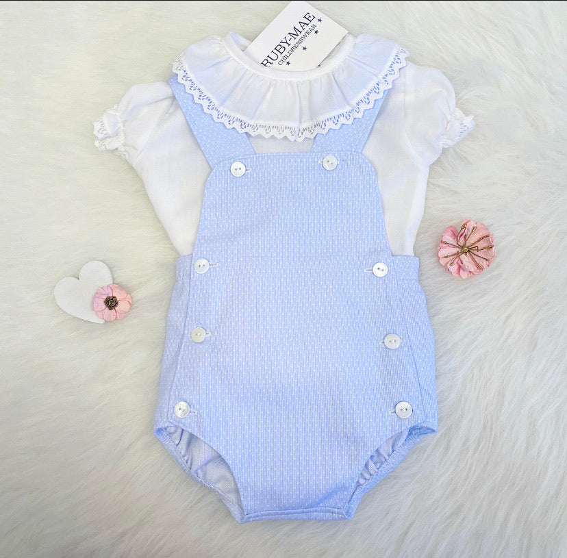 Blue And White Polka-Dot Dungaree Outfit - Ciara