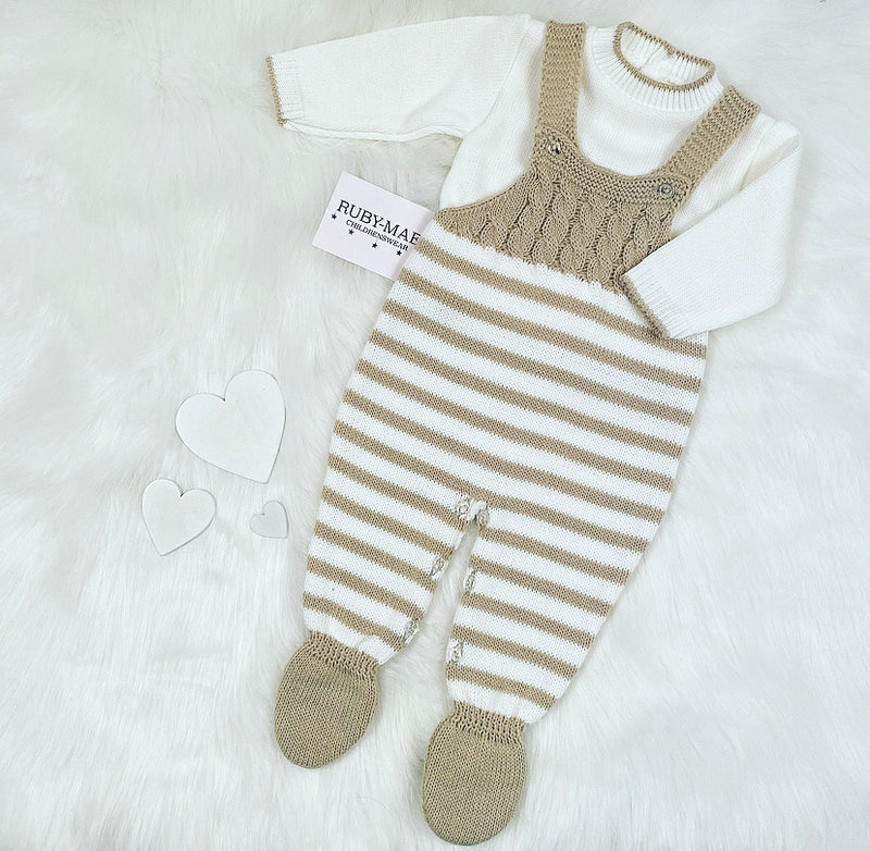 UNISEX Beige & White Stripe Knitted Dungaree & Jumper Outfit