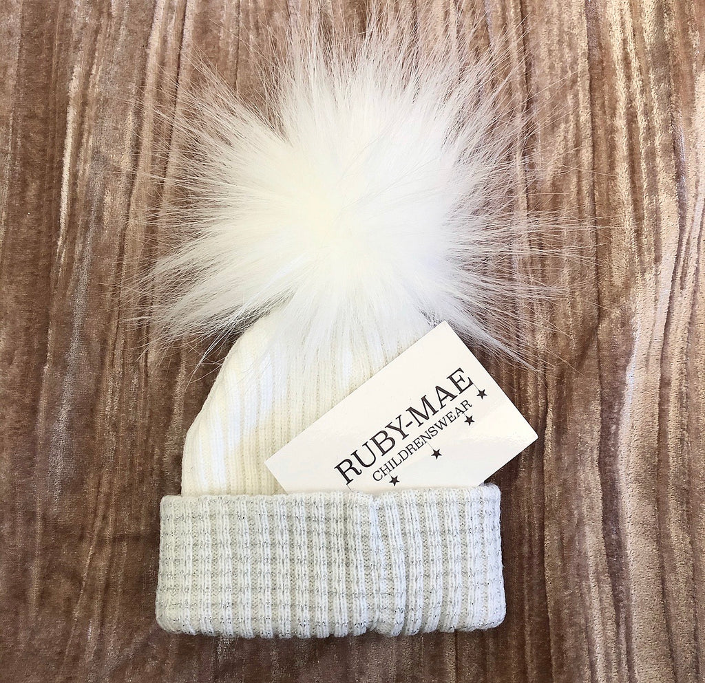 White With Silver Faux Fur Pom Pom Hat