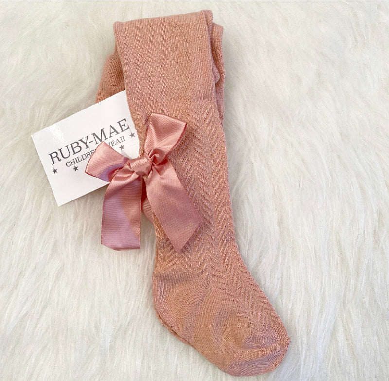 Dusky Pink Pattered Bow Tights