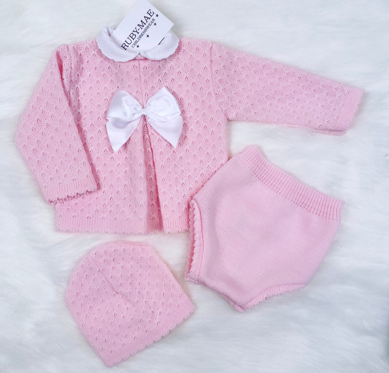 Pink Diamond Knitted Two Piece Outfit With Matching Hat - Tinisha